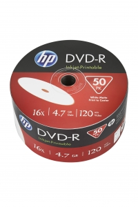 HP DVD-R 4.7GB 16x 50pk. White Inkjet Printable Wrap
